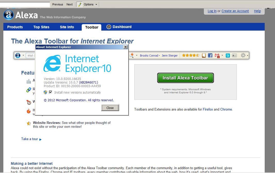 Internet Explorer 10 to New for alexa.com Toolbar - ! null